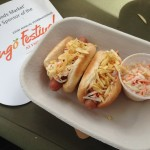 Colombian Style Mini Hot Dogs with Coleslaw, Creamy Mango Mustard, & Crushed Potato Chips